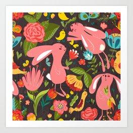 Bunnies in the wild Art Print