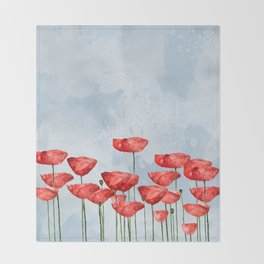 Poppyfield poppies poppy blue sky- watercolor artwork Throw Blanket
