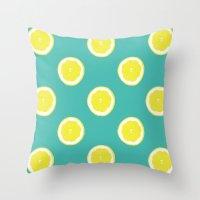 lemon Throw Pillows featuring lemon by Panic Junkie
