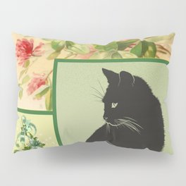 Patchwork Flowers and Cat Pillow Sham