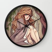 cyarin Wall Clocks featuring Tree Girl by Cyarin