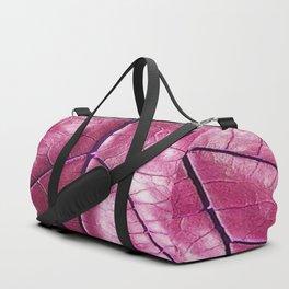 BURGUNDY PURPLE  ART LEATHERY TROPICAL LEAF Duffle Bag