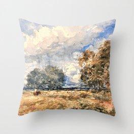 12,000pixel-500dpi - David Cox - Shepherding the Flock, Windy Day - Digital Remastered Edition Throw Pillow