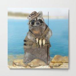 Raccoon Fisherman Metal Print