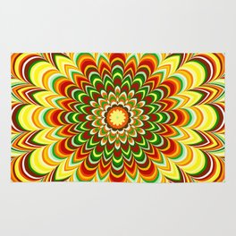 Colorful flower striped mandala Rug