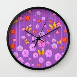 YELLOW BUTTERFLIES ROSES MODERN LILAC ART Wall Clock