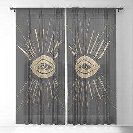 Evil Eye Gold on Black #1 #drawing #decor #art #society6 Sheer Curtain