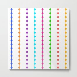 Geometric Droplets Pattern - Rainbow Colors on White Metal Print