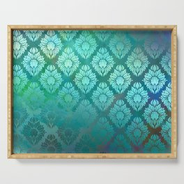 """Turquoise Ocean Damask Pattern"" Serving Tray"
