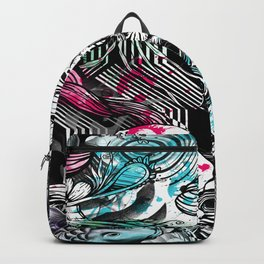 Skulls and fish repeat pattern. Backpack