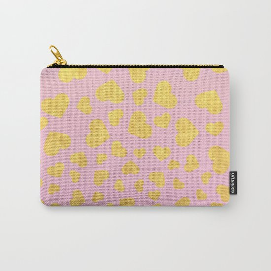 Golden hearts falling from heaven- Gold glitter heart on pink Carry-All Pouch