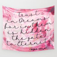 calligraphy Wall Tapestries featuring Trust in Dreams calligraphy by Seven Roses