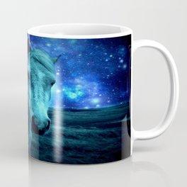 Teal Horse Blue Violet Galaxy Skies Coffee Mug