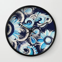 Winter flowers in petrykivka style Wall Clock