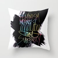 feminism Throw Pillows featuring Feminism  by Christina
