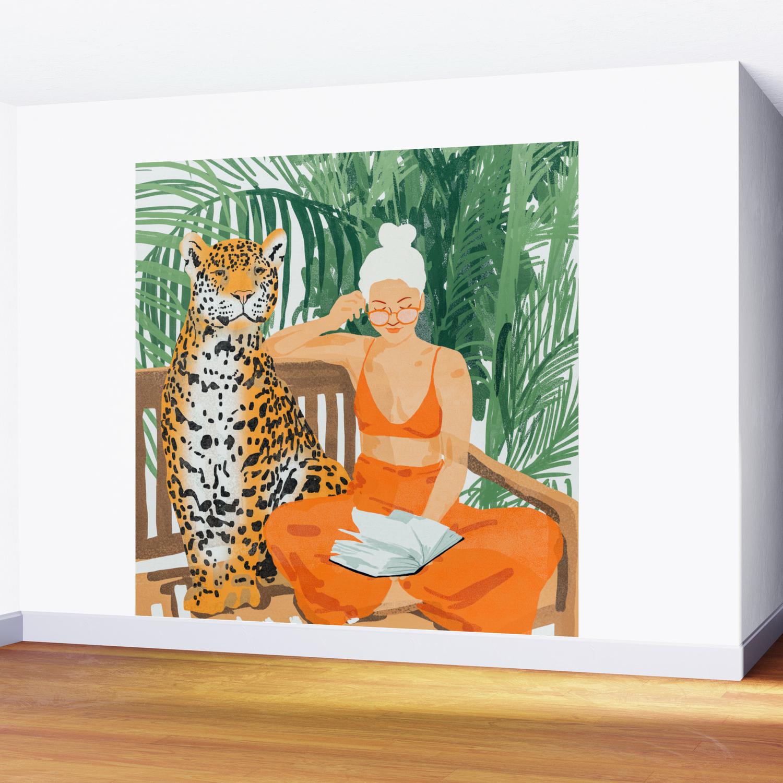 Jungle Vacay Painting Illustration Wall Mural