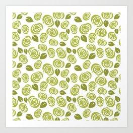 Olive Green Floral Pattern Art Print