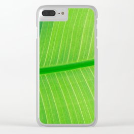 Close Up Of Green Banana Leaf Lime Green Tropical Leaf Clear iPhone Case