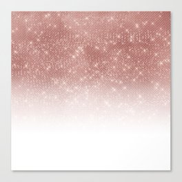 Girly Faux Rose Gold Sequin Glitter White Ombre Canvas Print