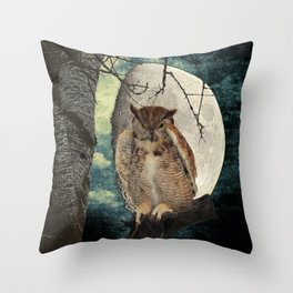 Great Horned Owl Bird Moon Tree A138 Throw Pillow