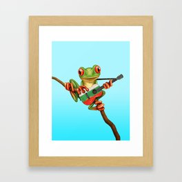 Tree Frog Playing Acoustic Guitar with Flag of Bulgaria Framed Art Print