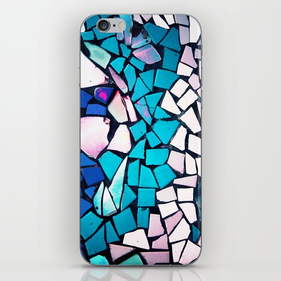 Turquoise and blue mosaic-(photograph) iPhone Skin