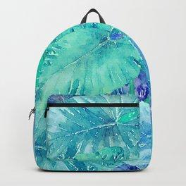 Tropical Blue Leaf Pattern Backpack