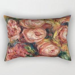 """Auguste Renoir """"Composition aux roses et à la tasse de thé (Composition with roses ...)"""" Rectangular Pillow"""