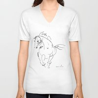 wind V-neck T-shirts featuring Horse (Wind) by Paper Horses