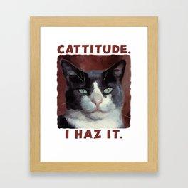 Smug Cat with Cattitude Framed Art Print