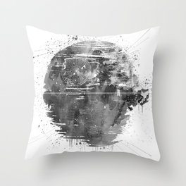 Death Sta Watercolor B&W Throw Pillow