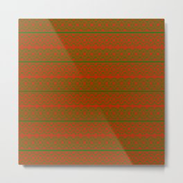 Red and Green Classic Nordic Christmas Pattern Metal Print