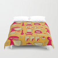 kitchen Duvet Covers featuring Retro Kitchen by Doris & Fred