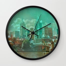 Melbourne Waterfront Abstract Wall Clock