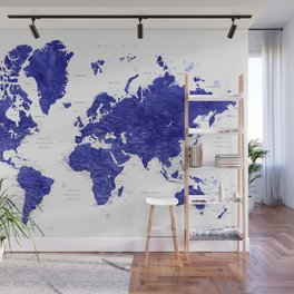 """Navy blue watercolor world map with cities, """"Ronnie"""" Wall Mural"""