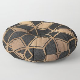 Charcoal and Gold - Geometric Textured Cube Design II Floor Pillow