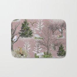 Owl Fox Snow Pattern Pink Bath Mat