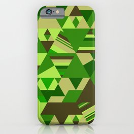 Colourful triangular mosaic in the nuance of green iPhone Case