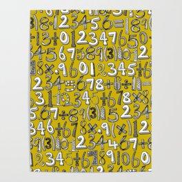 math doodle yellow Poster