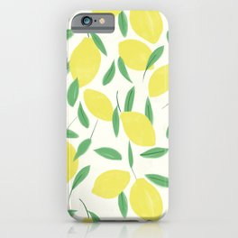 Lemons and Leaves Pattern iPhone Case