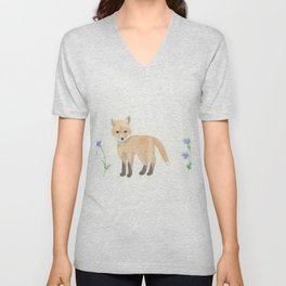 Baby Fox with Blue Cornflowers Unisex V-Neck