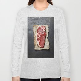 Raw beef steak on a dark slate background Long Sleeve T-shirt