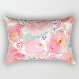 Watercolor Peonies Summer Bouquet Rectangular Pillow