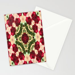 Old Red Rose Kaleidoscope 6 Stationery Cards