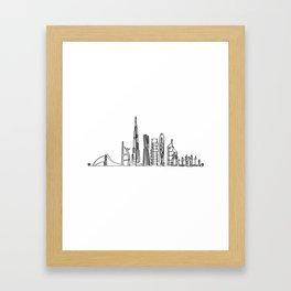 Dubai Skyline in one stroke Framed Art Print