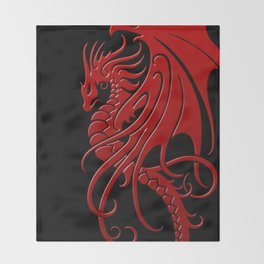 Flying Red and Black Tribal Dragon Throw Blanket