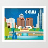 Omaha, Nebraska - Skyline Illustration by  Loose Petals LLC Art Print