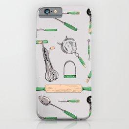 pattern: vintage kitchen tools (green) iPhone Case