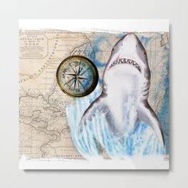 Great White Shark Compass Vintage Map Metal Print