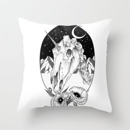 Unicorn skull of night Throw Pillow